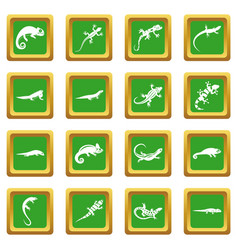 lizard icons set green vector image