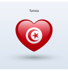 Love Tunisia symbol Heart flag icon vector image vector image