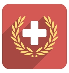 Medical glory flat rounded square icon with long vector