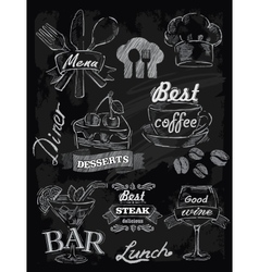 menu set on chalkboard vector image vector image