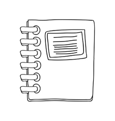 Monochrome contour notebook spiral with sheets vector