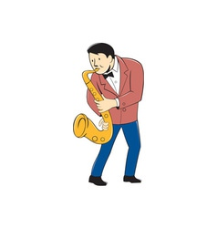 Musician playing saxophone cartoon vector