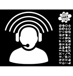 Operator radio signal icon with tools bonus vector