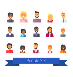 people set of icons on white vector image vector image