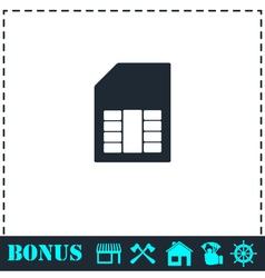 Sim card icon flat vector