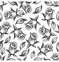 sketched rose and leaves seamess pattern vector image