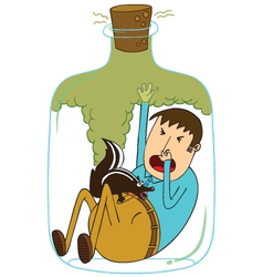 Trapped in a bottle with skunk vector image