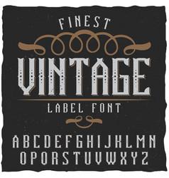 Vintage label font vector
