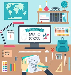 Welcome to school back to scholl workplace flat vector