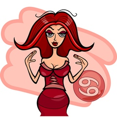 woman cartoon cancer sign vector image vector image