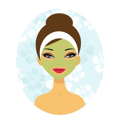Woman with facial care mask vector image vector image