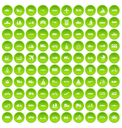 100 transportation icons set green circle vector