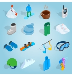Snowboard set icons isometric 3d style vector
