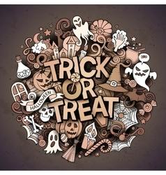 Cartoon cute doodles Trick or treat inscription vector image