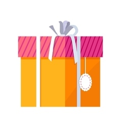 Orange gift box with white ribbon vector