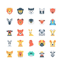 Animals and birds colored icons 3 vector