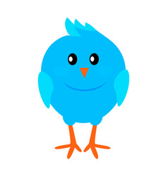 Little funny blue bird flat icon vector