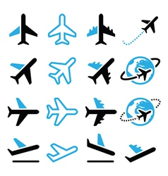 Plane flight airport black and blue icons set vector