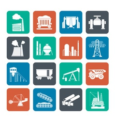 Silhouette Heavy industry icons vector image