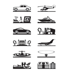 Luxury goods vehicles and property vector