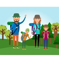 Nature tourism family at the forest vector