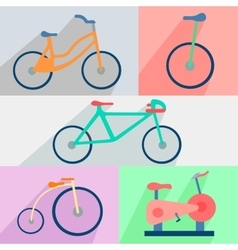 Flat set bicycles exercise bike circus city vector