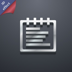 Notepad icon symbol 3d style trendy modern design vector