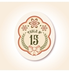 Vintage wedding badge table number vector