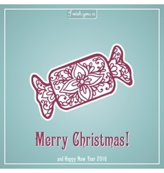 Merry christmas lettering congratulations card vector