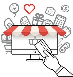 Shopping via internet connection vector