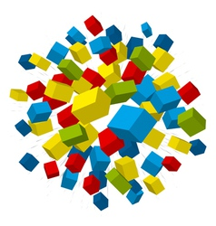 Colored boxes explosion vector