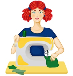 woman sews vector image