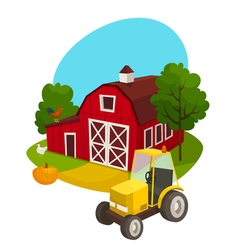 Farm outdoor concept with tractor building pumpkin vector