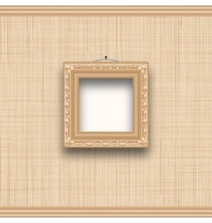 Empty square picture frame on a beige wall with vector