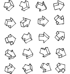 Arrow hand drawn arrow icon collection over white vector