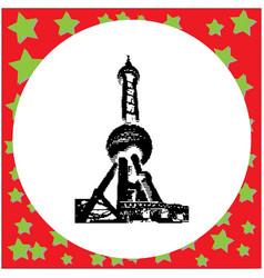 black 8-bit oriental pearl tower in shanghai vector image