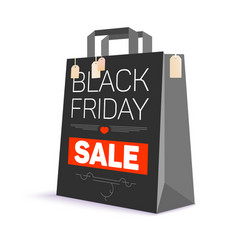 Black paper shopping bag with ad text black vector