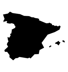 Black silhouette map of Spain vector image vector image