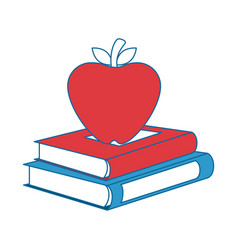 Books with apple fruit vector