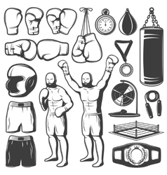 Boxing black white elements set vector