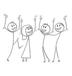 cartoon of group of people celebrating success vector image vector image