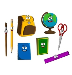 Cartoon school objects vector image vector image