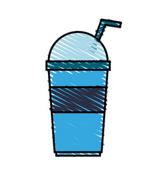 color crayon stripe cartoon blue plastic cup with vector image vector image