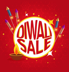 Diwali sale poster with festival crackers and diya vector