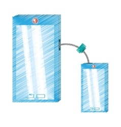 Drawing two smart phone device technology mobile vector