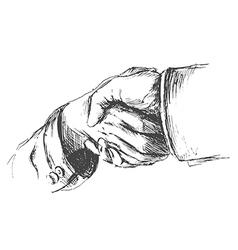 Hand sketch handshake vector