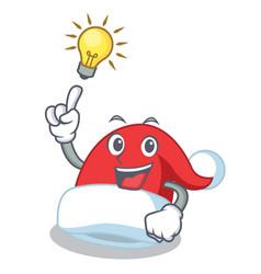 have an idea christmas hat character cartoon vector image