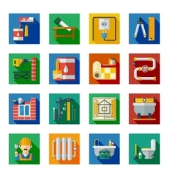 Home repair flat square icons set vector