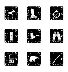 Hunting in forest icons set grunge style vector image