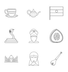 Indian symbols icon set outline style vector